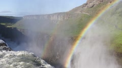 Double Rainbow formed in the Spray Gullfoss,Iceland - stock footage