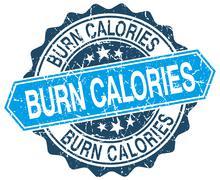 burn calories blue round grunge stamp on white - stock illustration