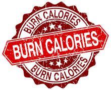 Stock Illustration of burn calories red round grunge stamp on white
