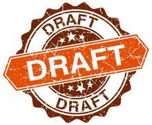 draft orange round grunge stamp on white - stock illustration