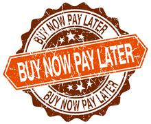 Stock Illustration of buy now pay later orange round grunge stamp on white
