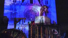 Fete des Lumieres, St Jean Cathedral, with sound, Lyon, France Stock Footage