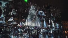 Fete des Lumieres animation, Lyon, Festival with sound Stock Footage