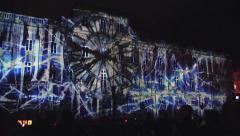 Fete des Lumieres, Light Festival, Lyon, France with sound Stock Footage