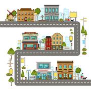 City Street Illustration - stock illustration
