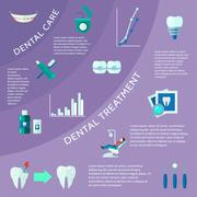 Dental Flat Color Infographic Stock Illustration