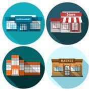 Shop Flat Set - stock illustration