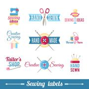 Sewing labels pictograms  collection Stock Illustration