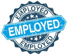 Employed blue round grunge stamp on white Stock Illustration