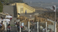 Tourists on promenade, Porto Stock Footage