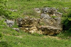 General view toward sedimentary  boulder in the field - stock photo