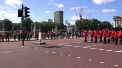 Guards (in 4K) outside Buckingham Palace, London, UK Stock Footage