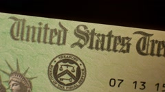 Government Check, US Treasury - Pan - stock footage