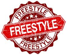 freestyle red round grunge stamp on white - stock illustration