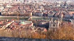Panoramic view of Lyon, France Stock Footage