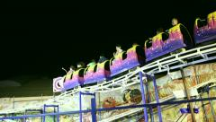 Stock Video Footage of Rollercoaster at night