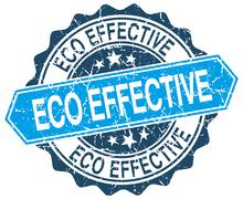 eco effective blue round grunge stamp on white - stock illustration