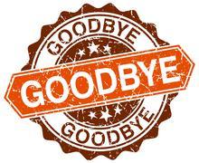 goodbye orange round grunge stamp on white - stock illustration