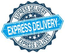 express delivery blue round grunge stamp on white - stock illustration