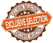 exclusive selection orange round grunge stamp on white - stock illustration
