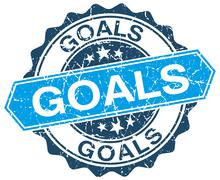 Stock Illustration of goals blue round grunge stamp on white