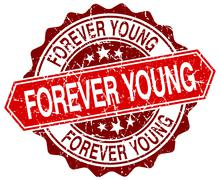 forever young red round grunge stamp on white - stock illustration