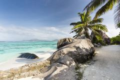 Stock Photo of The footpath to Anse Source D'Argent in La Digue, Seychelles with view to Pra