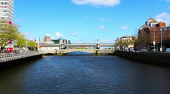Dublin, Liffey River and City, Real Time, Ireland Stock Footage