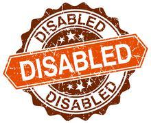 disabled orange round grunge stamp on white - stock illustration