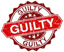Guilty red round grunge stamp on white Stock Illustration