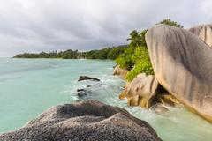 Beautiful bay Anse Source D'Argent in La Digue, Seychelles with scenic granit - stock photo