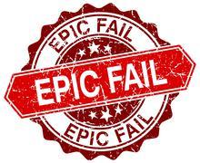 Epic fail red round grunge stamp on white Stock Illustration
