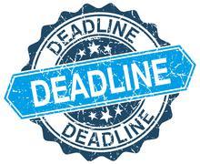 Stock Illustration of deadline blue round grunge stamp on white