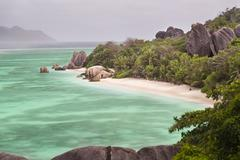 Long exposure high angle view of the famous Anse Source D'Argent in La Digue, - stock photo