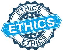 ethics blue round grunge stamp on white - stock illustration