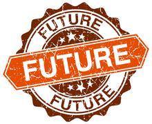 future orange round grunge stamp on white - stock illustration