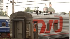 Russia.Moscow - 2013: Railway Terminal Stock Footage