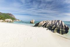 Beautiful granite rock at Anse Source D'Argent in La Digue, Seychelles Stock Photos