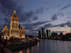 Timelapse of Hotel Ukraine in Russia, Moscow Stock Footage
