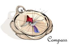 abstract compass - stock illustration