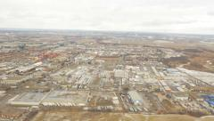 View of industrial landscape of Mississauga, Ontario. Flying out of Pearson. Stock Footage