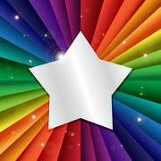 Stock Illustration of Bright vector rainbow celebration holiday banner with star
