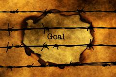 Goal concept against barbwire Stock Photos