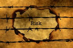 Risk and barbwire  concept Stock Photos