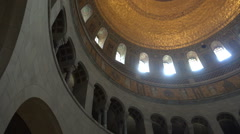 Stock Video Footage of Mausoleum building indoor arches and cupola dolly shot