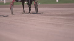 Horse racing close-up of the wagons and the hooves of a running horse - stock footage