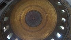 Stock Video Footage of 4k Mausoleum indoor golden cupola overhead radial shot