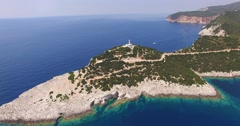 Aerial view of the lighthouse at the Greek Lefkada island Stock Footage
