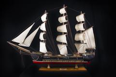 XVIII century frigate model - stock photo
