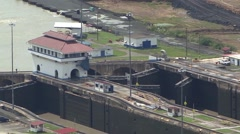 Panama Canal Time-Lapse of the canal doors opening Stock Footage